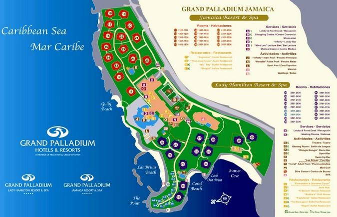 Схема отеля Grand Palladium Lady Hamilton Resort Spa 5*